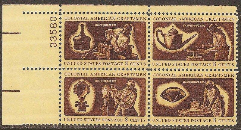 "Scott 1456-1459 Plate Block (8 cents) <p> <a href=""/images/USA-Scott-1456-1459-PB.jpg""><font color=green><b>View the image</a></b></font>"