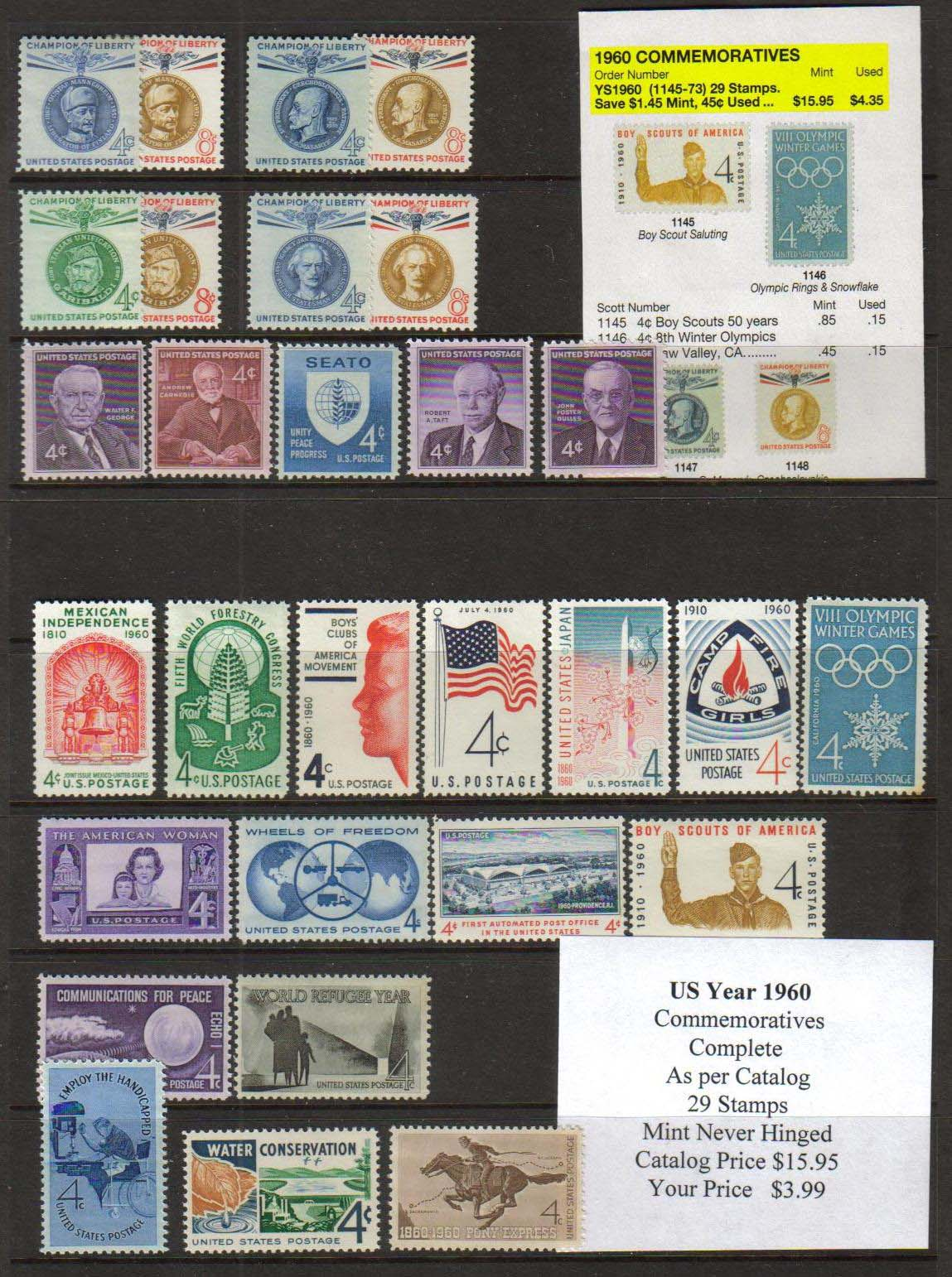 1960 COMMEMORATIVES, 29 STAMPS