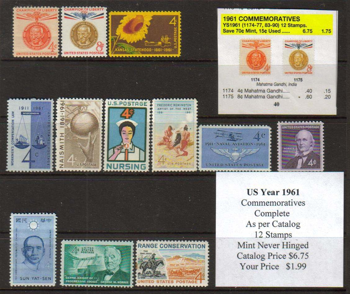 1961 COMMEMORATIVES, 12 STAMPS