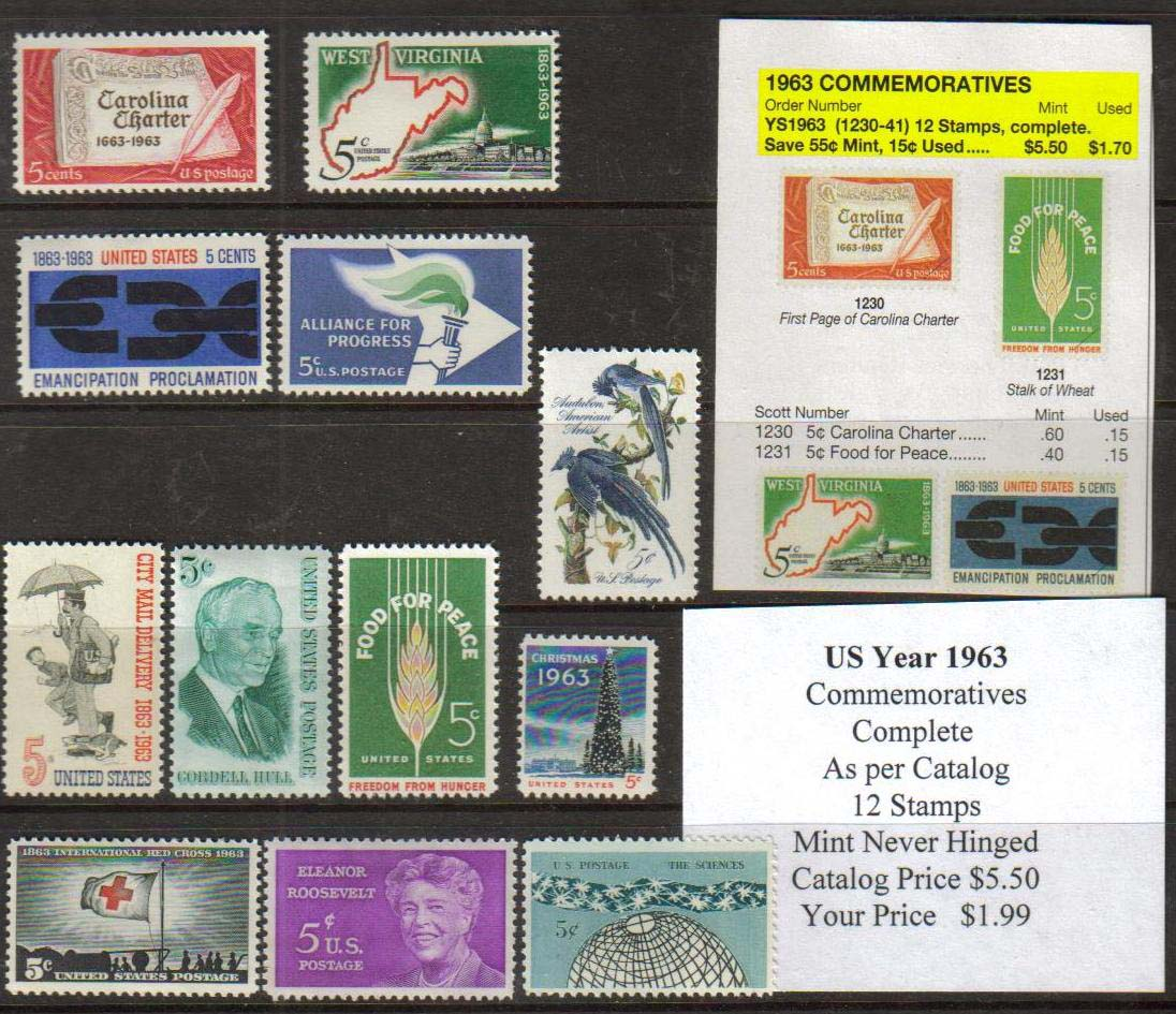 1963 COMMEMORATIVES, 12 STAMPS