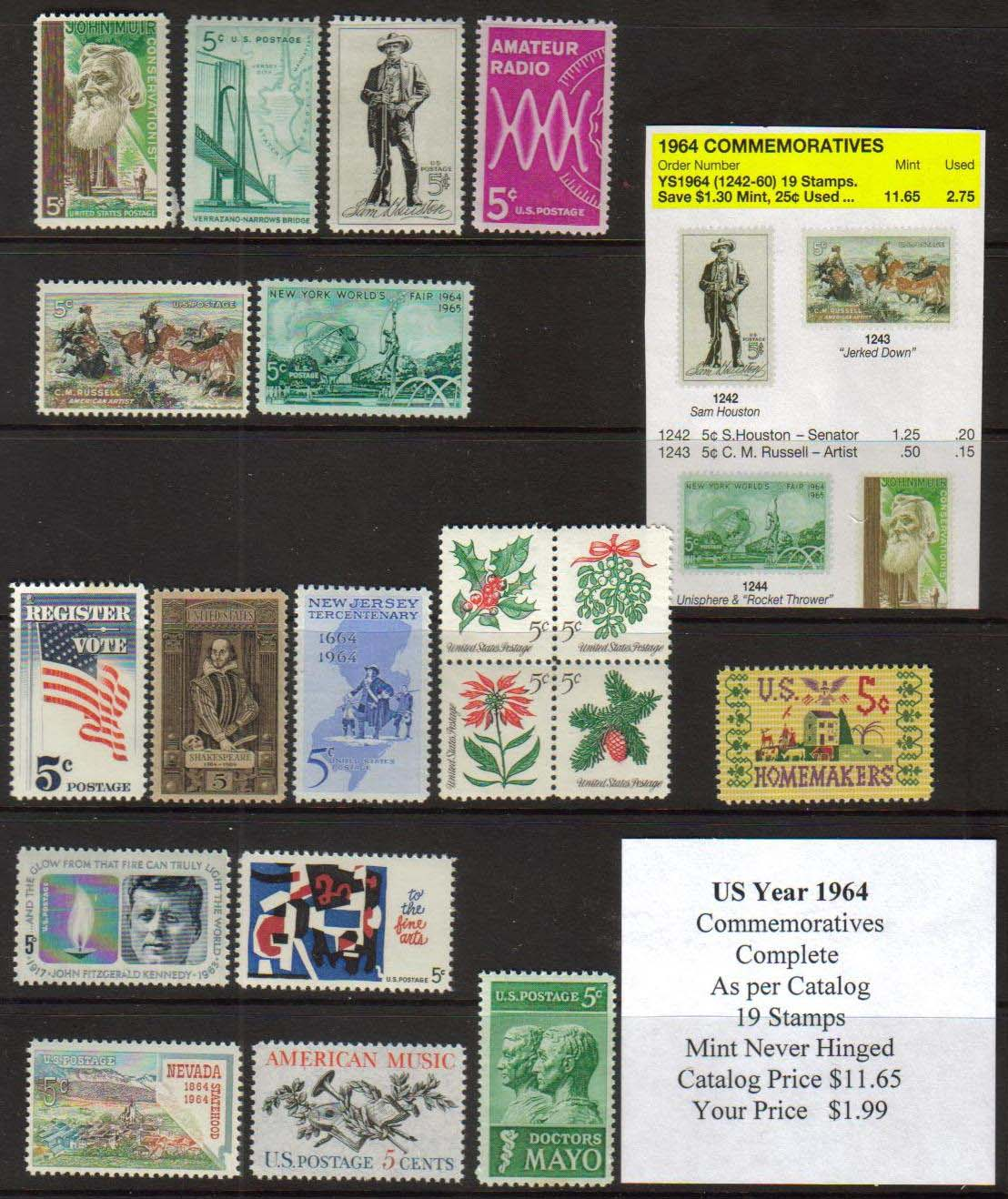 1964 COMMEMORATIVES, 19 STAMPS