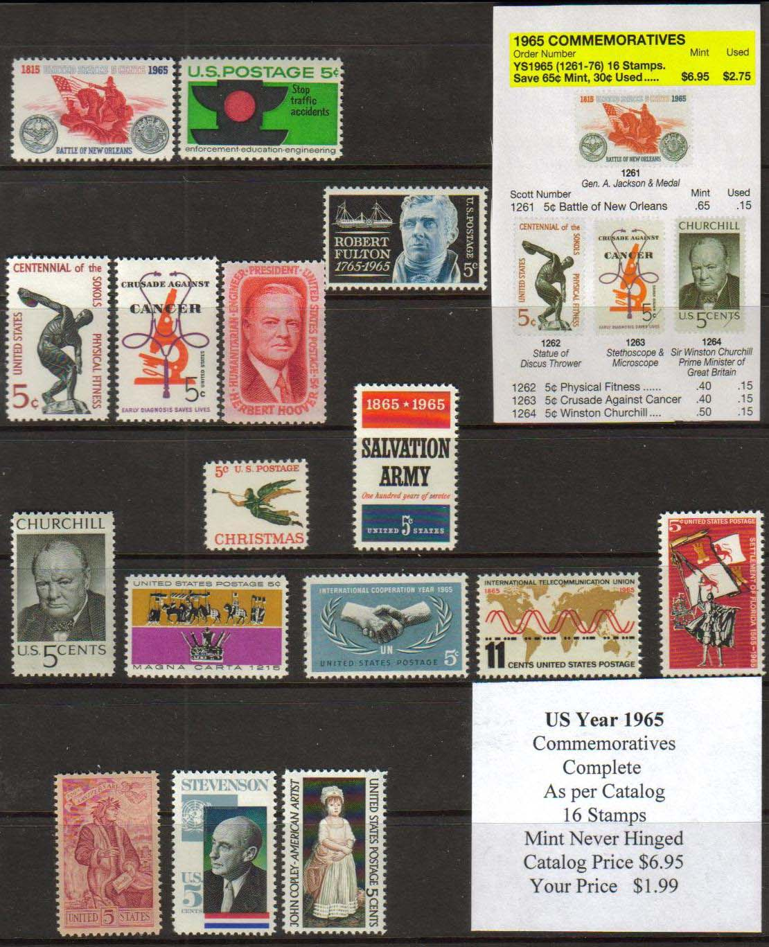 1965 COMMEMORATIVES, 16 STAMPS