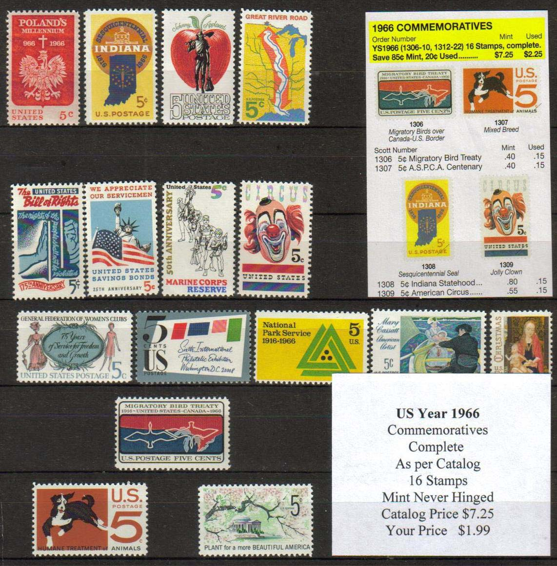 1966 COMMEMORATIVES, 16 STAMPS