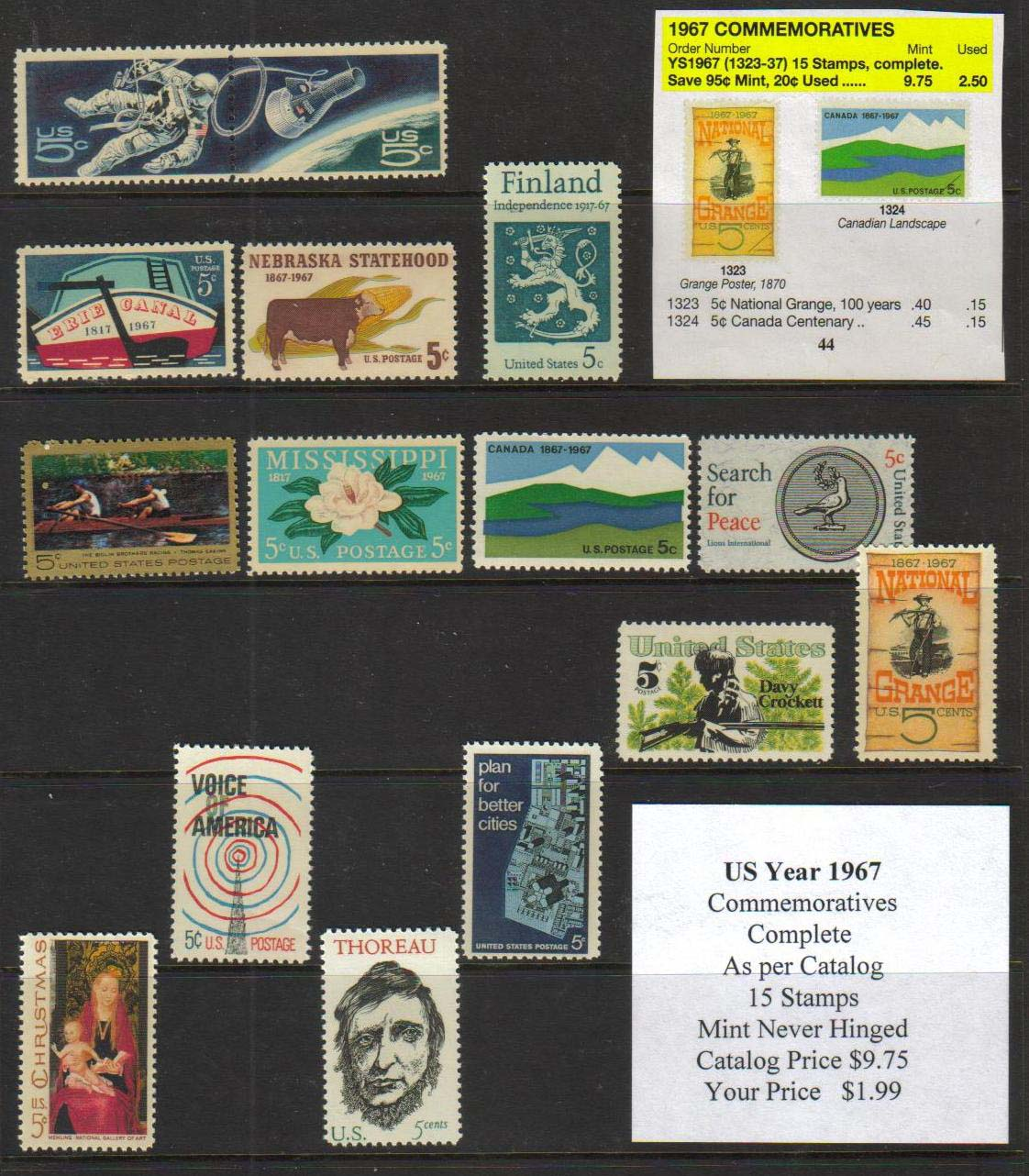 1967 COMMEMORATIVES, 15 STAMPS