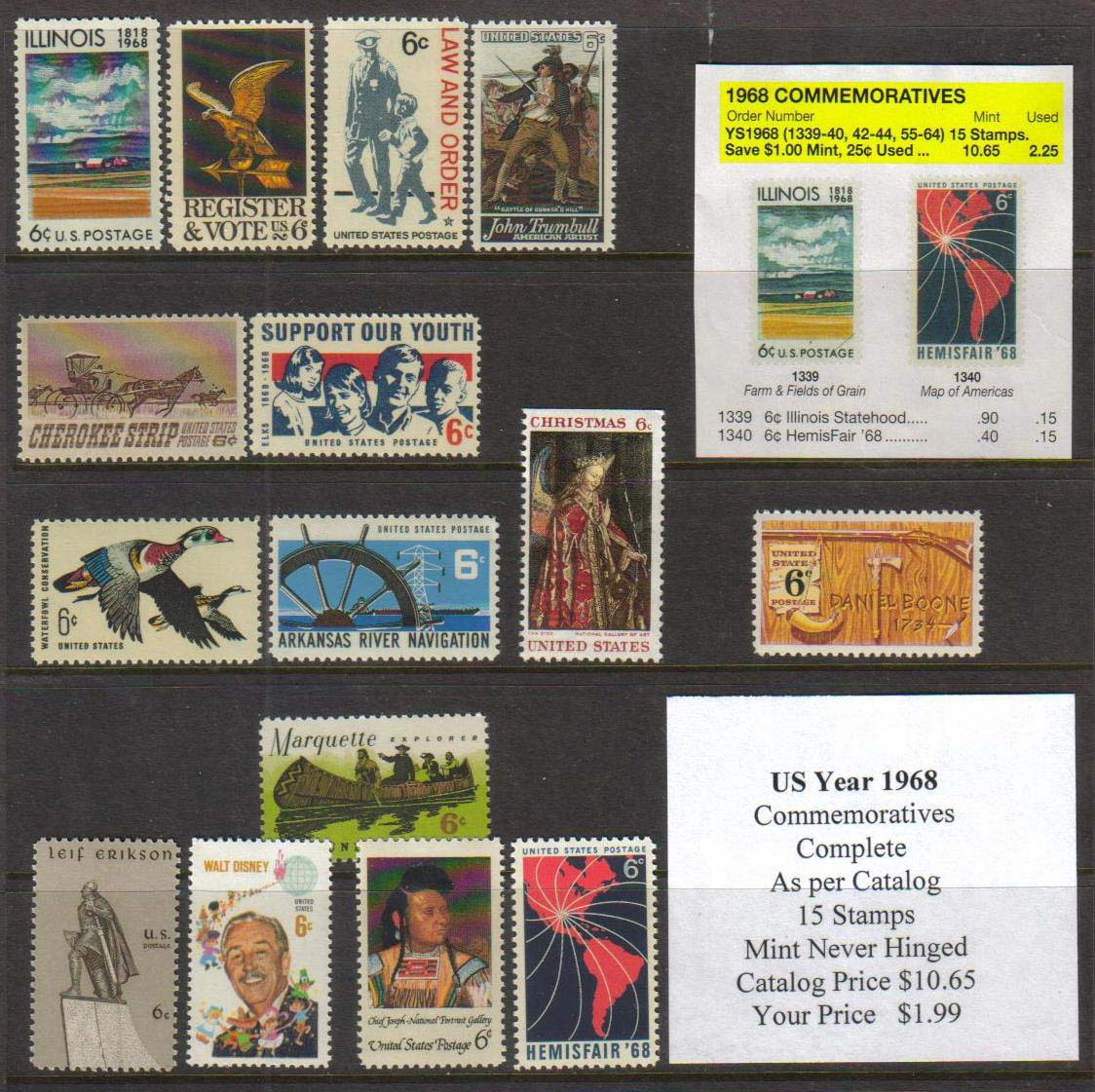 1968 COMMEMORATIVES, 15 STAMPS
