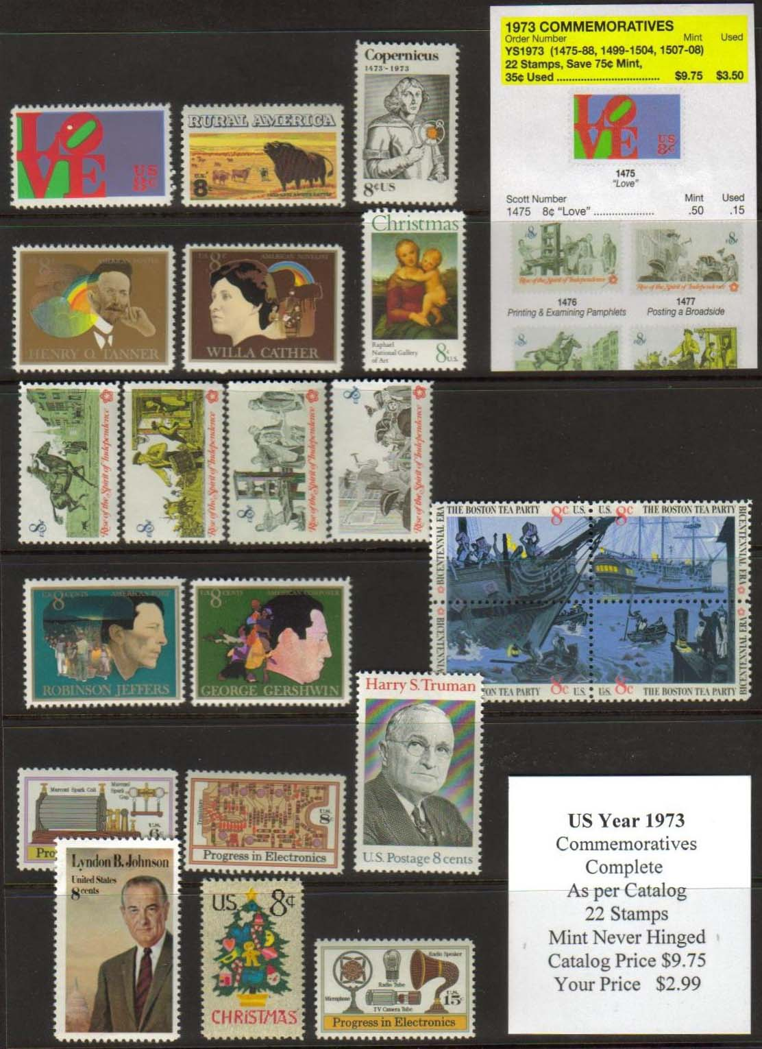 1973 COMMEMORATIVES, 22 STAMPS
