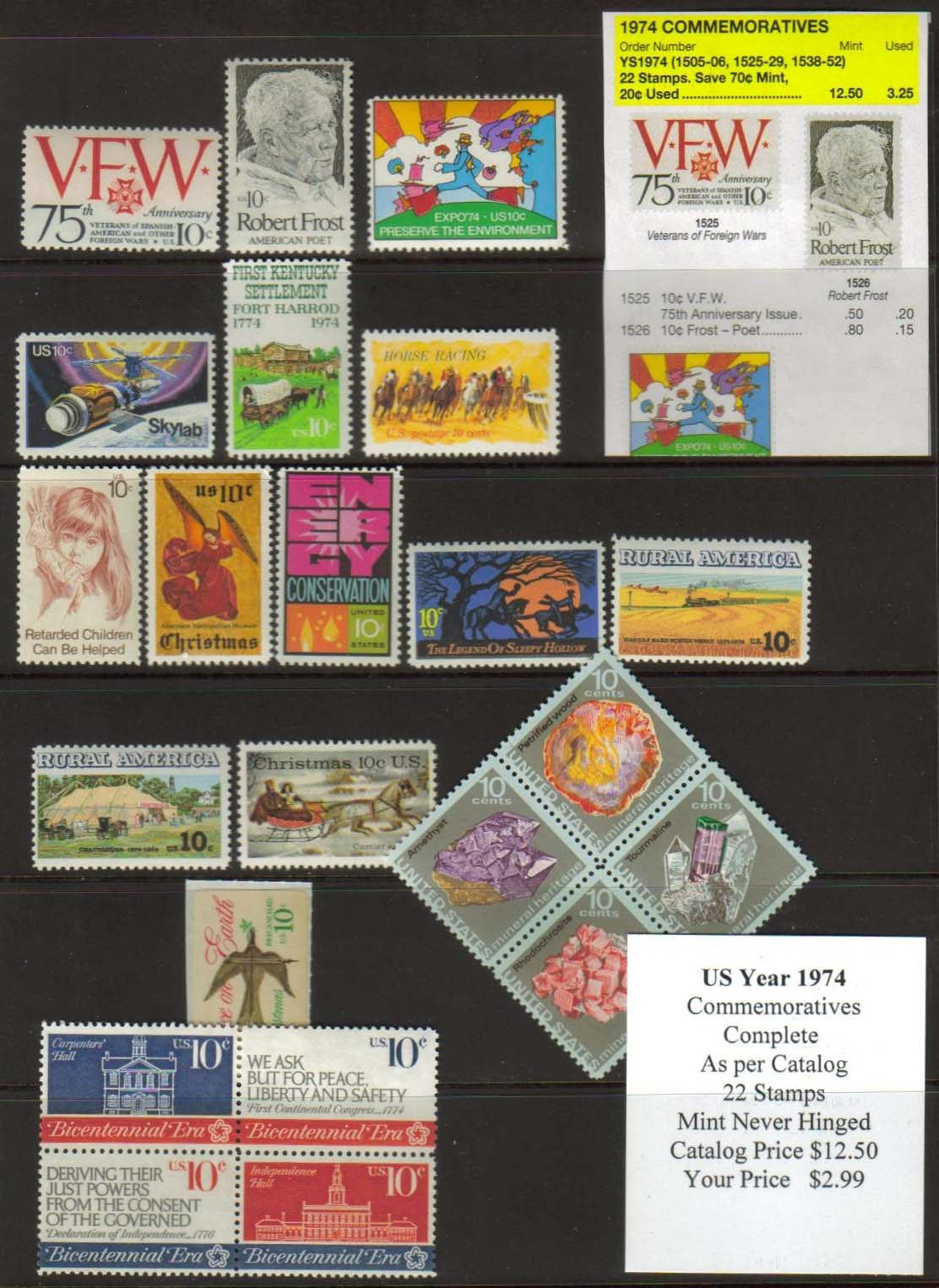 1974 COMMEMORATIVES, 22 STAMPS