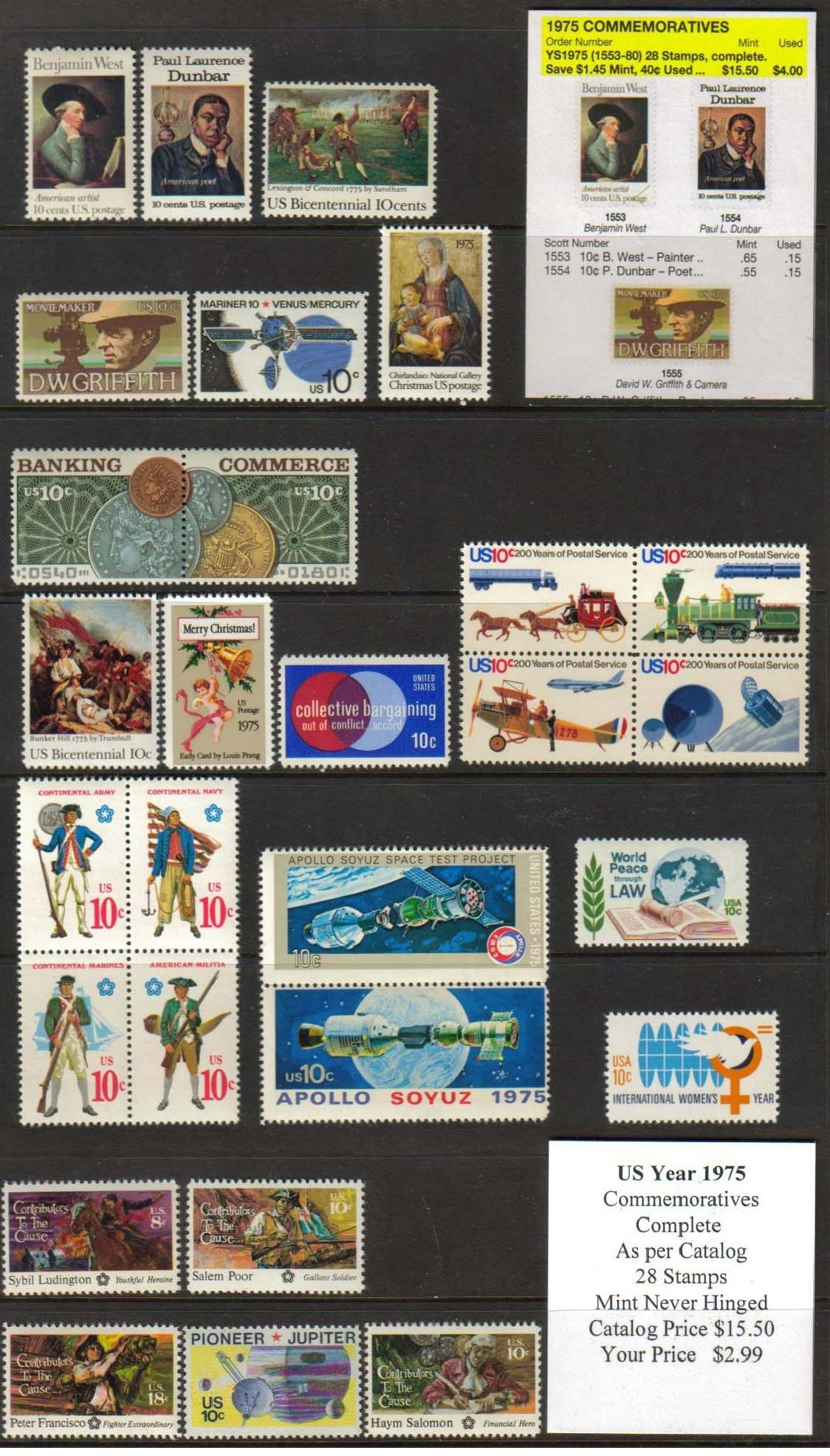 1975 COMMEMORATIVES, 28 STAMPS