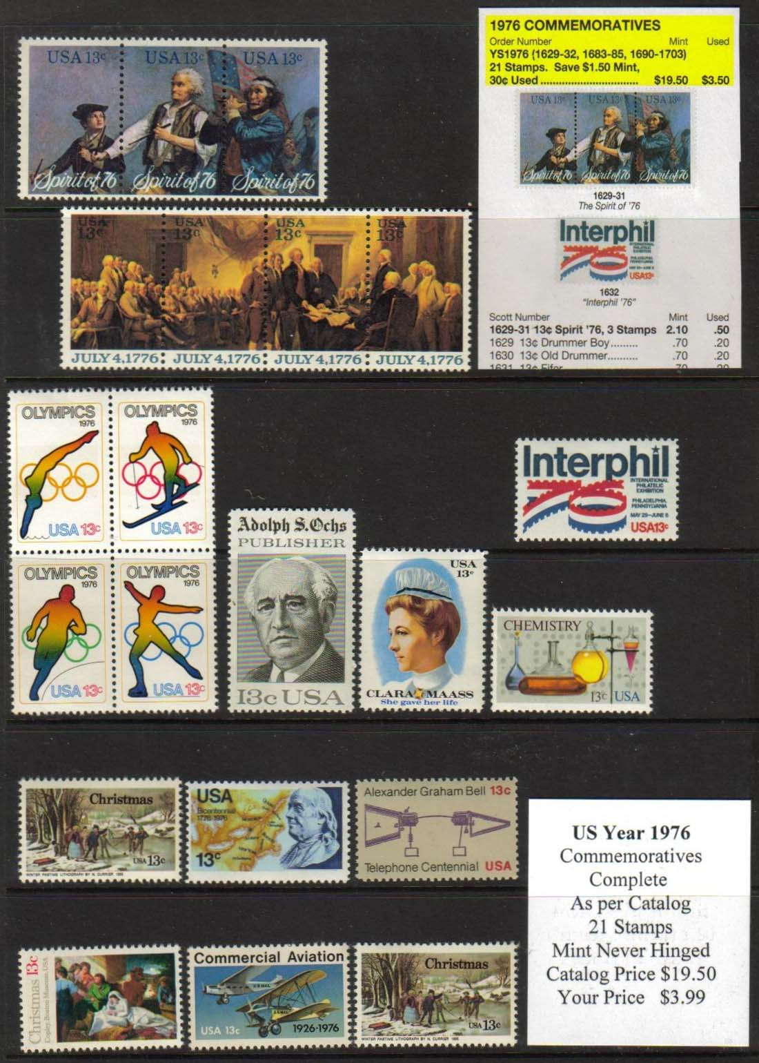1976 COMMEMORATIVES, 21 STAMPS