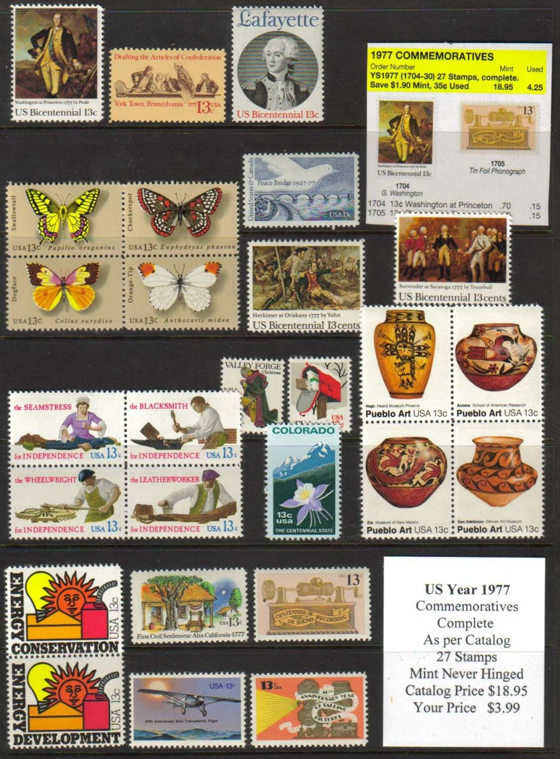 1977 COMMEMORATIVES, 27 STAMPS