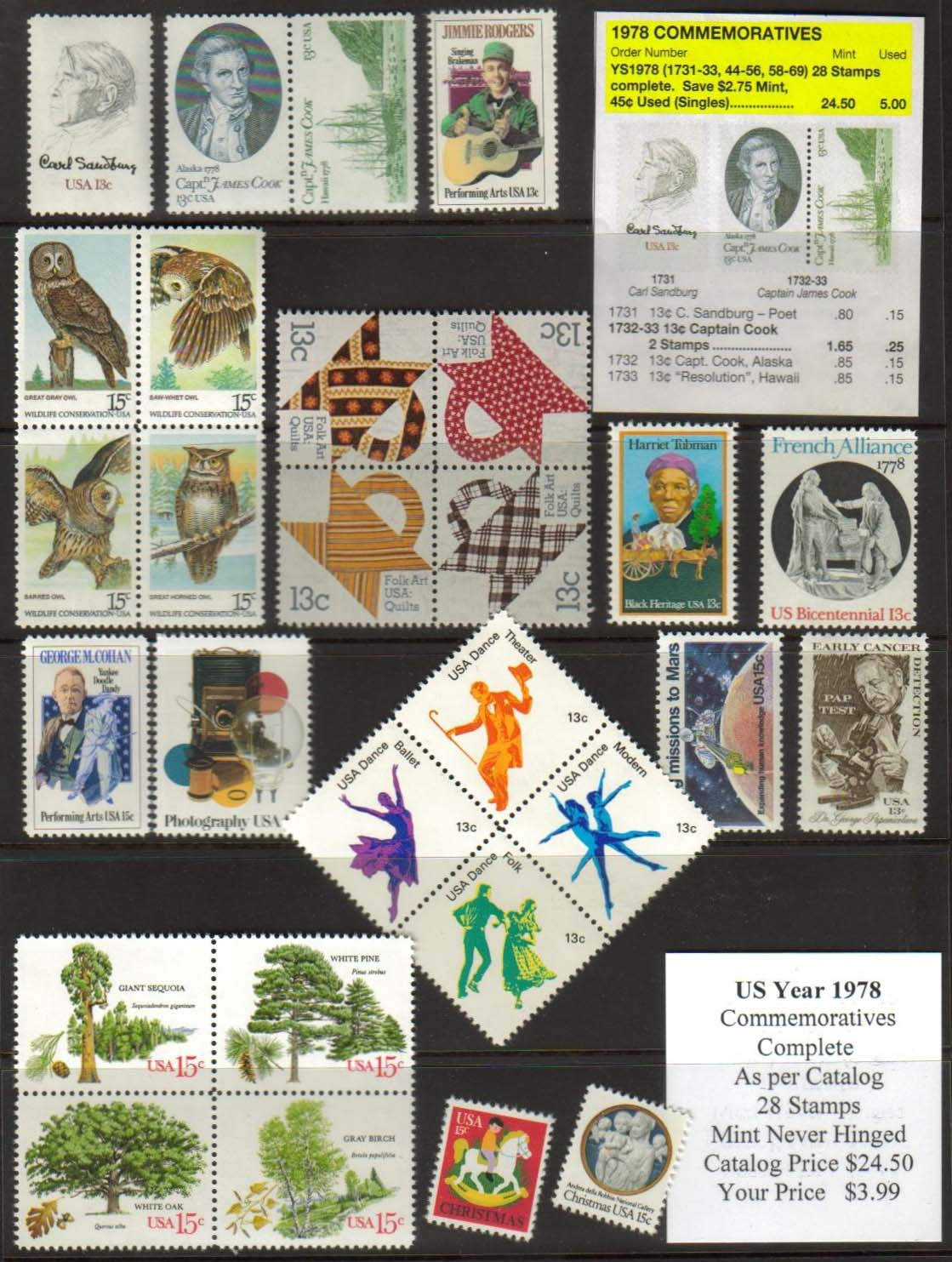 1978 COMMEMORATIVES, 28 STAMPS
