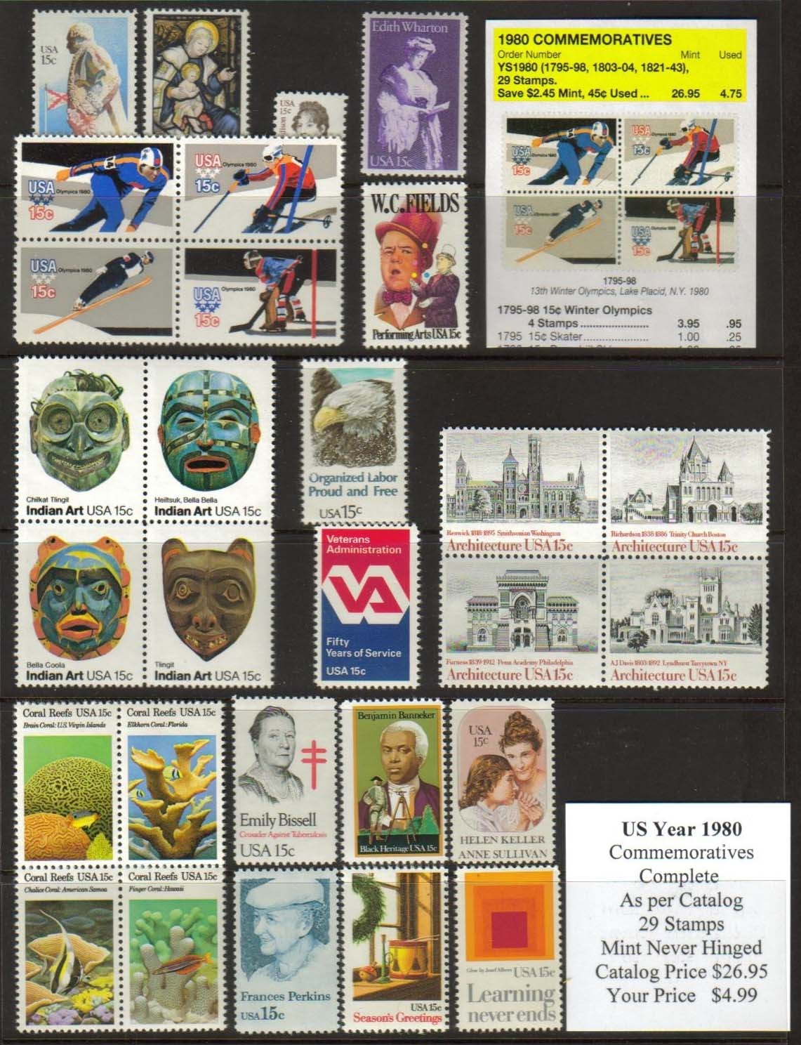 1980 COMMEMORATIVES, 29 STAMPS