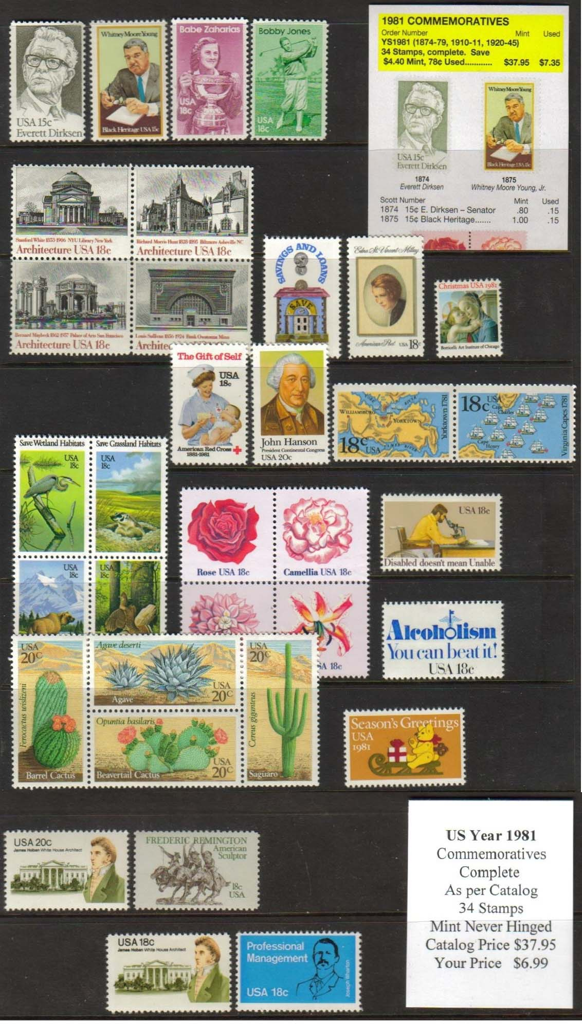 1981 COMMEMORATIVES, 34 STAMPS