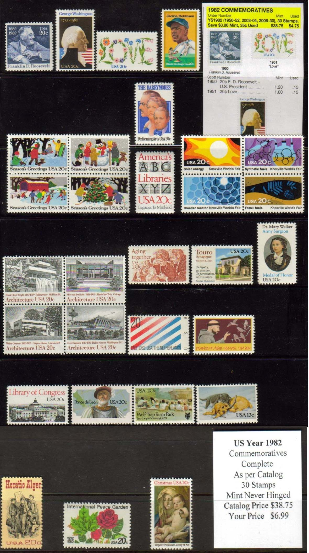 1982 COMMEMORATIVES, 30 STAMPS