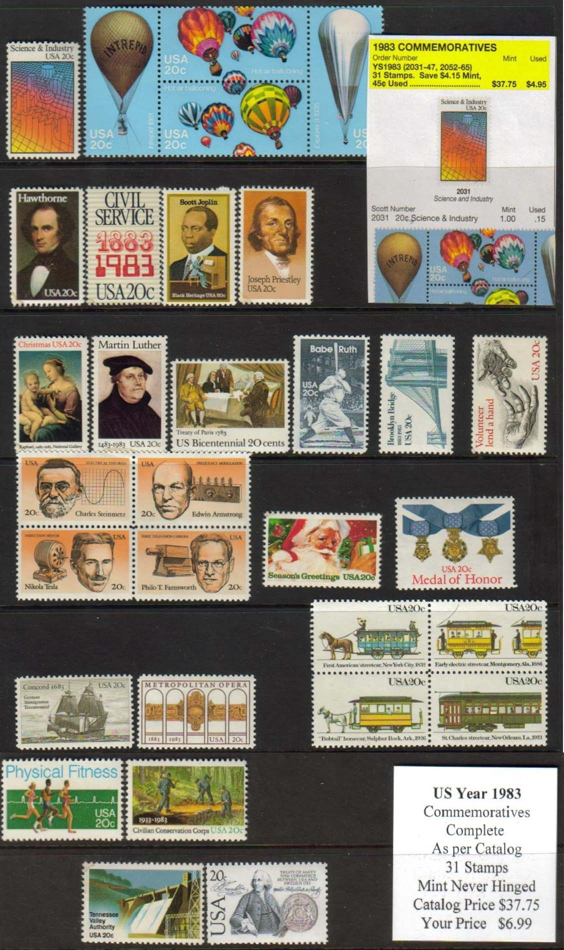 1983 COMMEMORATIVES, 31 STAMPS