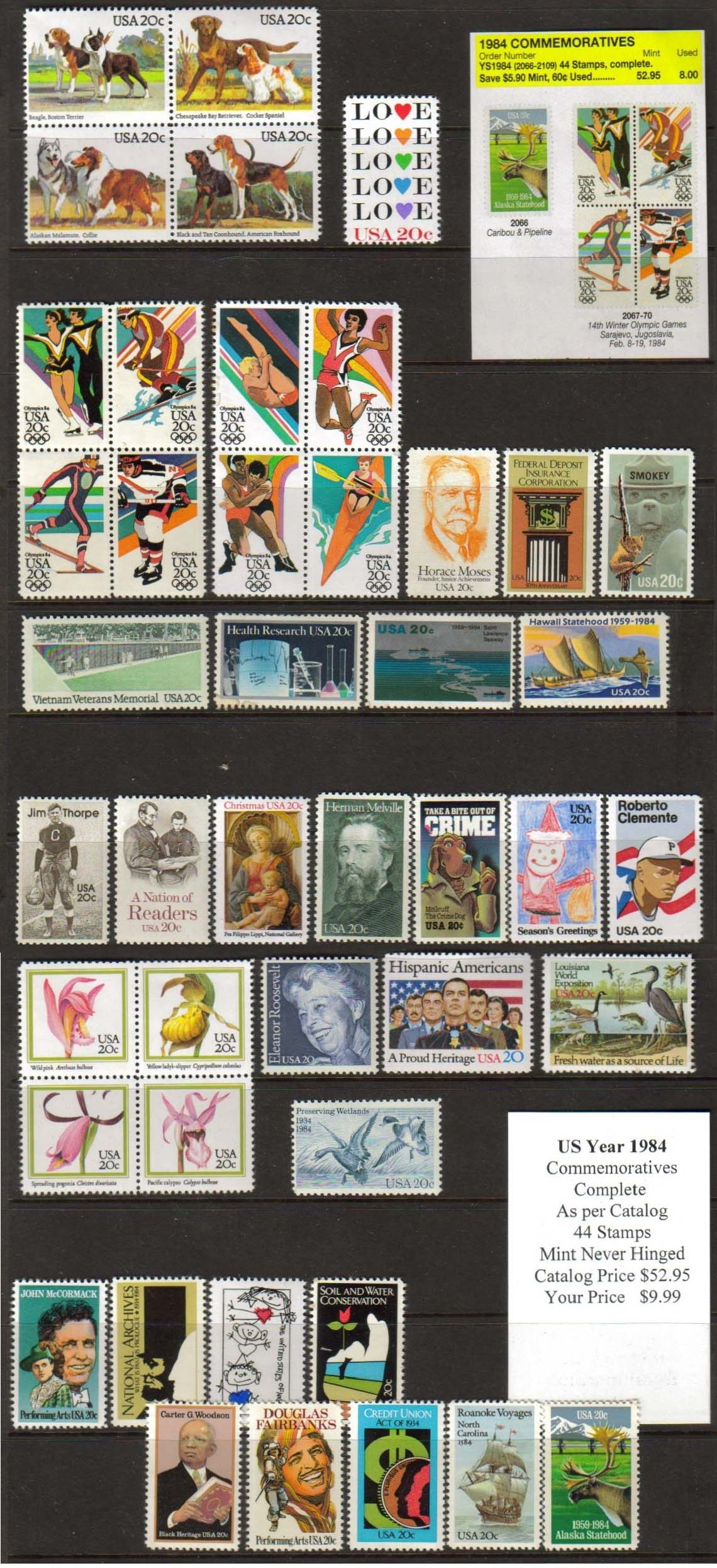 1984 COMMEMORATIVES, 44 STAMPS
