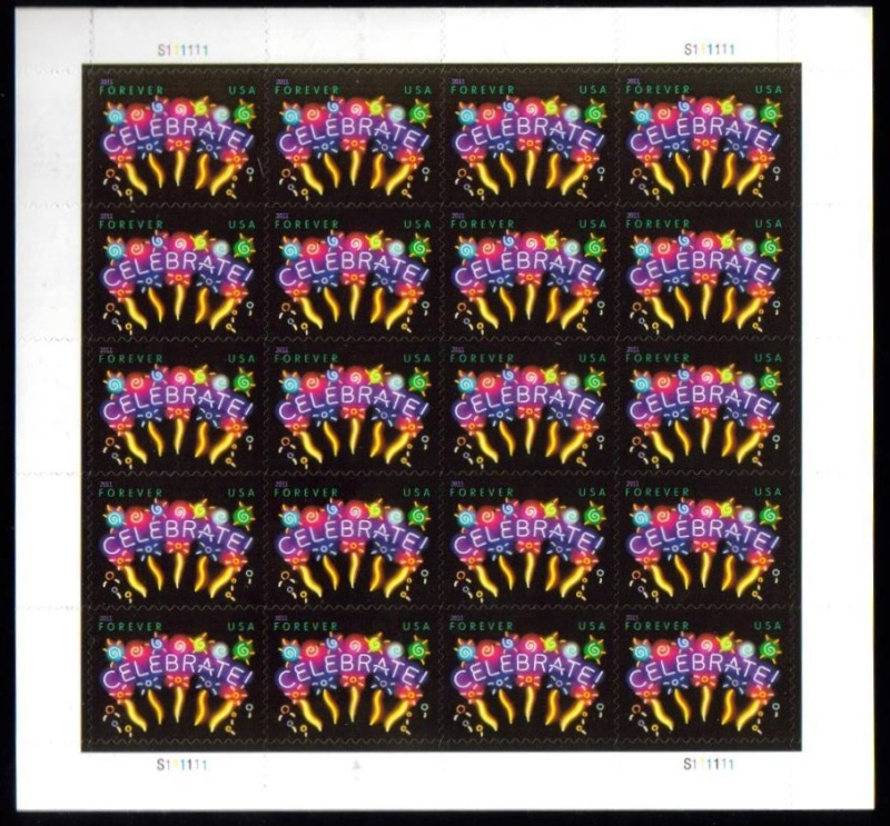 "Scott 4502 Sheet, Forever Stamp, sheet of 20, Celebrate<p> <a href=""/images/USA-NewIssue-20-Celebrate.jpg""><font color=green><b>View the image</a></b></font>"