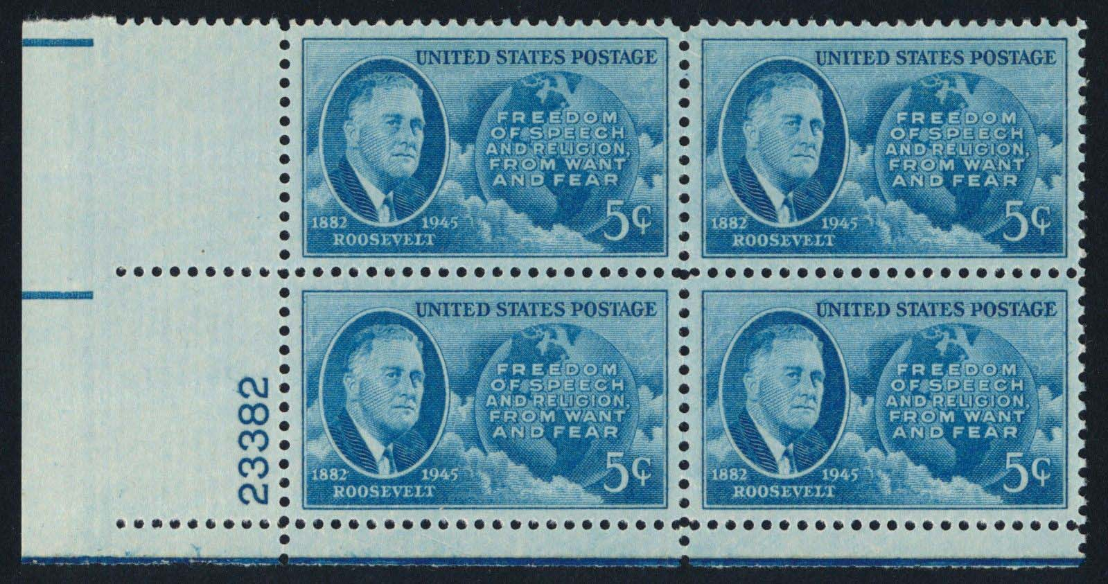 "Scott 0933 Plate Block (5 cents) <p> <a href=""/images/USA-Scott-0933-PB.jpg""><font color=green><b>View the image</a></b></font>"