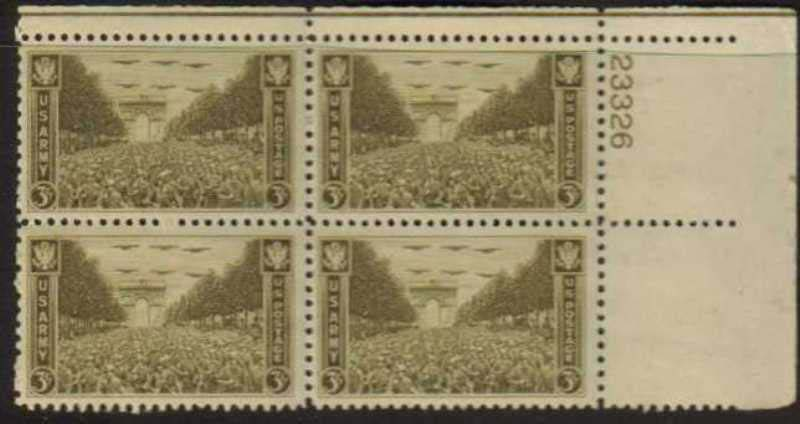 "Scott 0934 Plate Block (3 cents) <p> <a href=""/images/USA-Scott-0934-PB.jpg""><font color=green><b>View the image</a></b></font>"