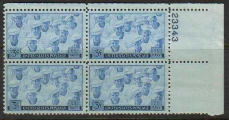 "Scott 0935 Plate Block (3 cents) <p> <a href=""/images/USA-Scott-0935-PB.jpg""><font color=green><b>View the image</a></b></font>"
