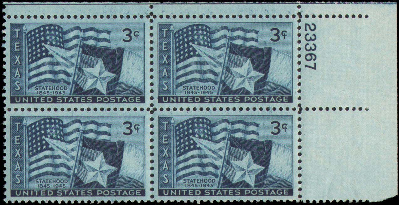 "Scott 0938 Plate Block (3 cents) <p> <a href=""/images/USA-Scott-0938-PB.jpg""><font color=green><b>View the image</a></b></font>"