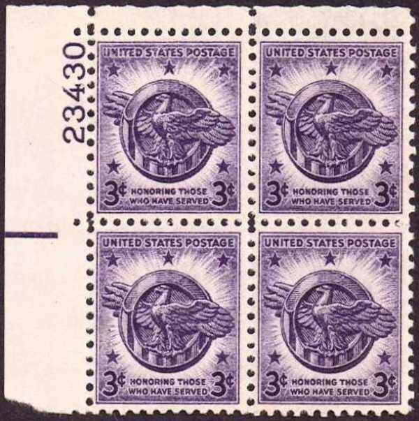 "Scott 0940 Plate Block (3 cents) <p> <a href=""/images/USA-Scott-0940-PB.jpg""><font color=green><b>View the image</a></b></font>"