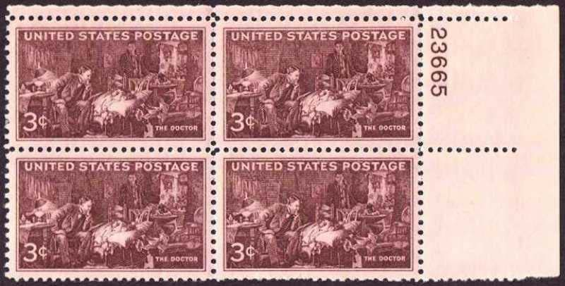"Scott 0949 Plate Block (3 cents) <p> <a href=""/images/USA-Scott-0949-PB.jpg""><font color=green><b>View the image</a></b></font>"