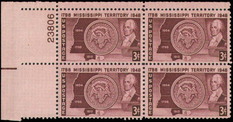 "Scott 0955 Plate Block (3 cents) <p> <a href=""/images/USA-Scott-0955-PB.jpg""><font color=green><b>View the image</a></b></font>"
