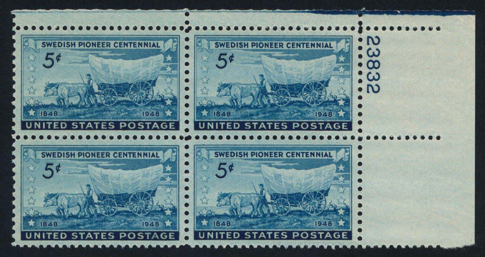 "Scott 0958 Plate Block (5 cents) <p> <a href=""/images/USA-Scott-0958-PB.jpg""><font color=green><b>View the image</a></b></font>"