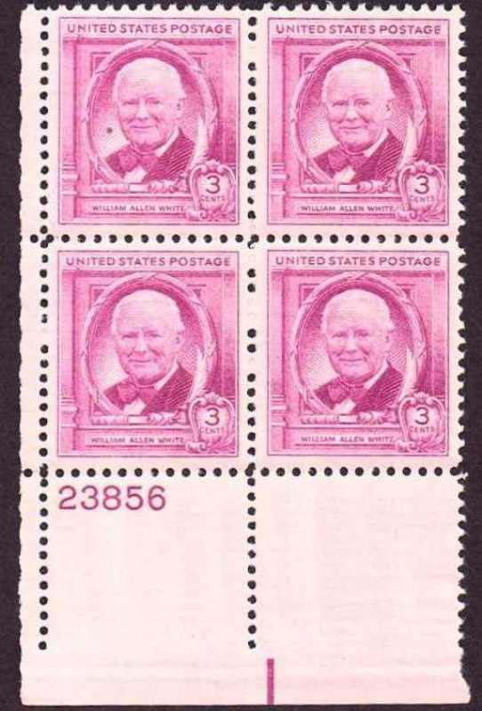 "Scott 0960 Plate Block (3 cents) <p> <a href=""/images/USA-Scott-0960-PB.jpg""><font color=green><b>View the image</a></b></font>"