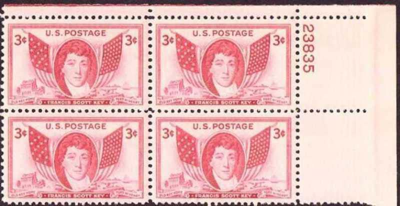 "Scott 0962 Plate Block (3 cents) <p> <a href=""/images/USA-Scott-0962-PB.jpg""><font color=green><b>View the image</a></b></font>"