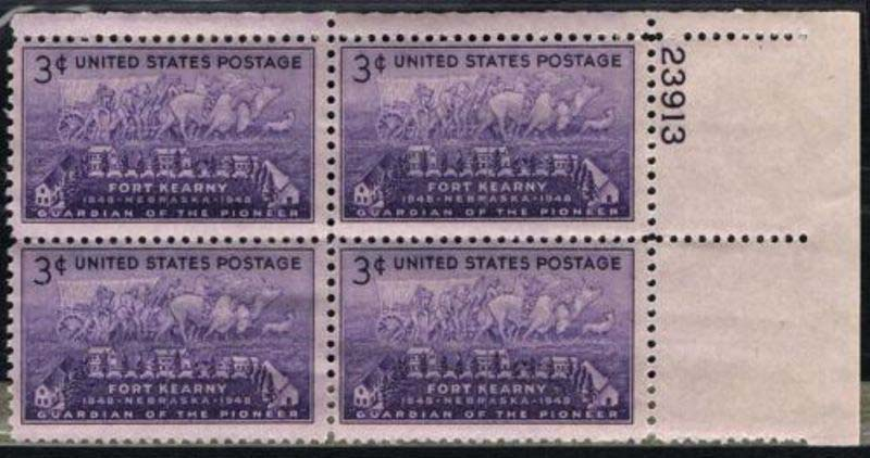 "Scott 0970 Plate Block (3 cents) <p> <a href=""/images/USA-Scott-0970-PB.jpg""><font color=green><b>View the image</a></b></font>"