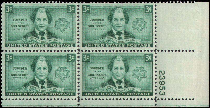 "Scott 0974 Plate Block (3 cents) <p> <a href=""/images/USA-Scott-0974-PB.jpg""><font color=green><b>View the image</a></b></font>"