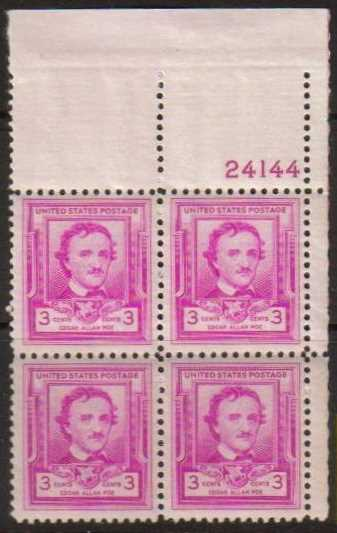 "Scott 0986 Plate Block (3 cents) <p> <a href=""/images/USA-Scott-0986-PB.jpg""><font color=green><b>View the image</a></b></font>"
