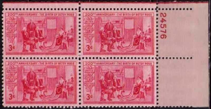 "Scott 1004 Plate Block (3 cents) <p> <a href=""/images/USA-Scott-1004-PB.jpg""><font color=green><b>View the image</a></b></font>"