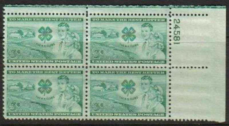 "Scott 1005 Plate Block (3 cents) <p> <a href=""/images/USA-Scott-1005-PB.jpg\""><font color=green><b>View the image</a></b></font>"