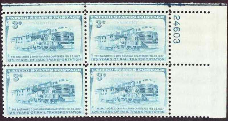 "Scott 1006 Plate Block (3 cents) <p> <a href=""/images/USA-Scott-1006-PB.jpg""><font color=green><b>View the image</a></b></font>"