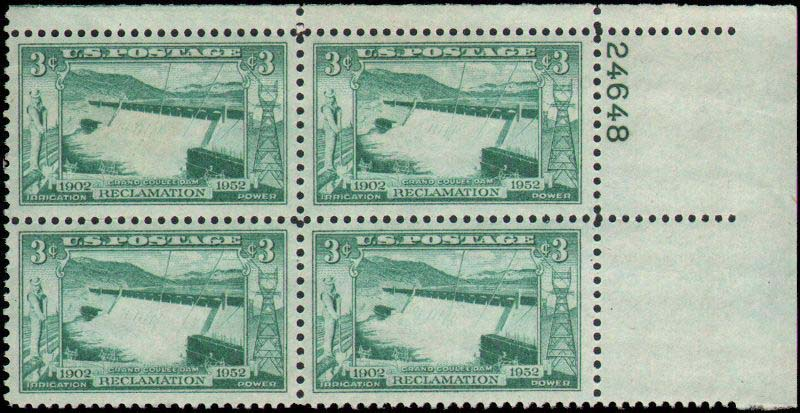 "Scott 1009 Plate Block (3 cents) <p> <a href=""/images/USA-Scott-1009-PB.jpg""><font color=green><b>View the image</a></b></font>"