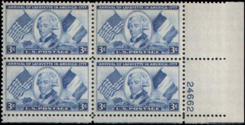 "Scott 1010 Plate Block (3 cents) <p> <a href=""/images/USA-Scott-1010-PB.jpg""><font color=green><b>View the image</a></b></font>"