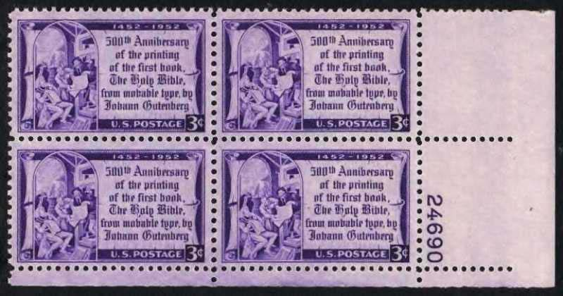 "Scott 1014 Plate Block (3 cents) <p> <a href=""/images/USA-Scott-1014-PB.jpg""><font color=green><b>View the image</a></b></font>"