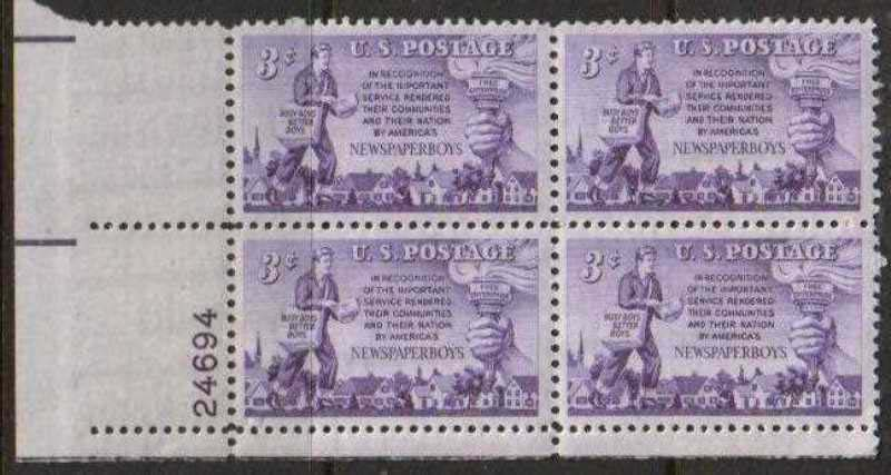 "Scott 1015 Plate Block (3 cents) <p> <a href=""/images/USA-Scott-1015-PB.jpg""><font color=green><b>View the image</a></b></font>"