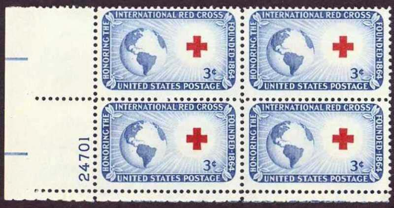 "Scott 1016 Plate Block (3 cents) <p> <a href=""/images/USA-Scott-1016-PB.jpg""><font color=green><b>View the image</a></b></font>"