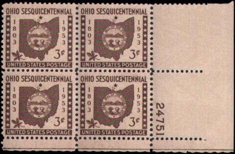 "Scott 1018 Plate Block (3 cents) <p> <a href=""/images/USA-Scott-1018-PB.jpg""><font color=green><b>View the image</a></b></font>"