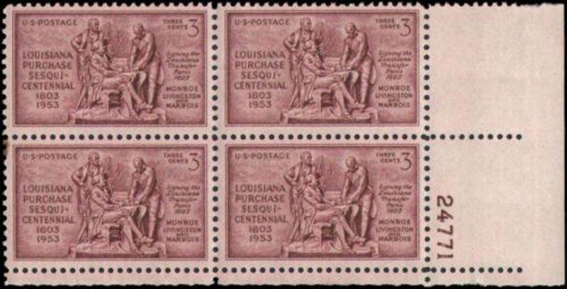 "Scott 1020 Plate Block (3 cents) <p> <a href=""/images/USA-Scott-1020-PB.jpg""><font color=green><b>View the image</a></b></font>"