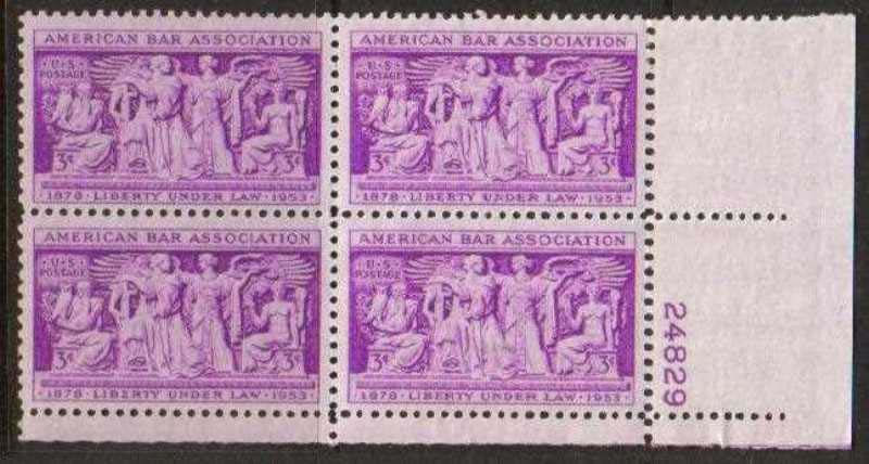 "Scott 1022 Plate Block (3 cents) <p> <a href=""/images/USA-Scott-1022-PB.jpg""><font color=green><b>View the image</a></b></font>"