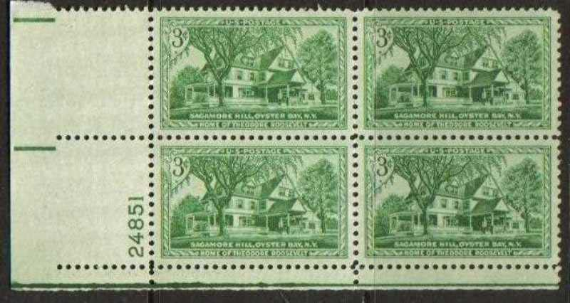 "Scott 1023 Plate Block (3 cents) <p> <a href=""/images/USA-Scott-1023-PB.jpg""><font color=green><b>View the image</a></b></font>"