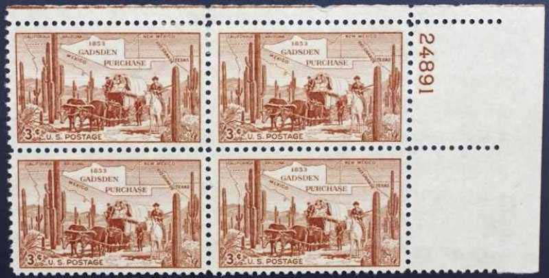 "Scott 1028 Plate Block (3 cents) <p> <a href=""/images/USA-Scott-1028-PB.jpg""><font color=green><b>View the image</a></b></font>"