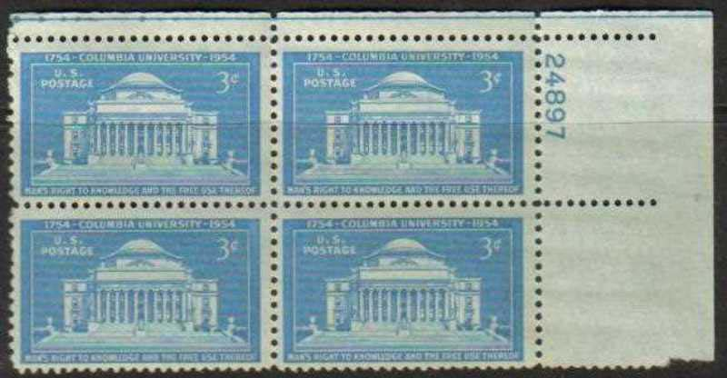 "Scott 1029 Plate Block (3 cents) <p> <a href=""/images/USA-Scott-1029-PB.jpg""><font color=green><b>View the image</a></b></font>"