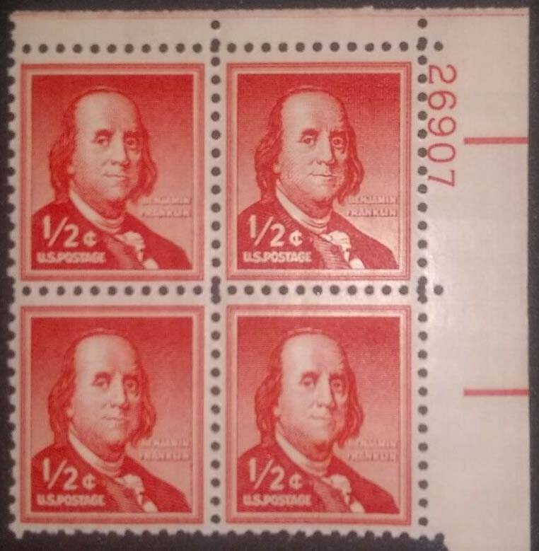 "Scott 1030 Plate Block (1/2 cents) <p> <a href=""/images/USA-Scott-1030-PB.jpg""><font color=green><b>View the image</a></b></font>"
