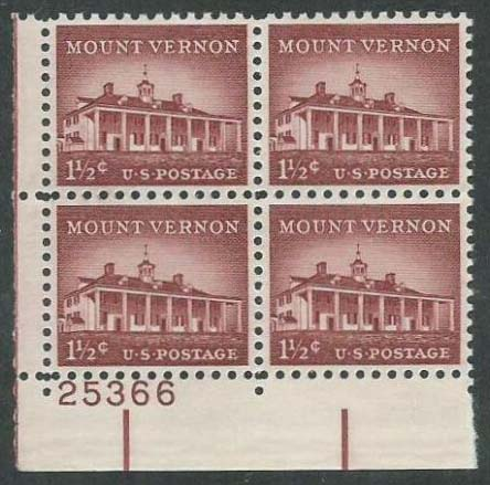 "Scott 1032 Plate Block (1.5 cents) <p> <a href=""/images/USA-Scott-1032-PB.jpg""><font color=green><b>View the image</a></b></font>"